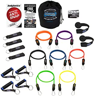 Bodylastics Patented Anti-SNAP 12pcs, 14pcs, 19pcs and 31pcs MAX Tension Resistance Bands Sets with 5, 6, 7 or 14 of Our Exercise Bands, Heavy Duty Components, a Bag and User Manual.