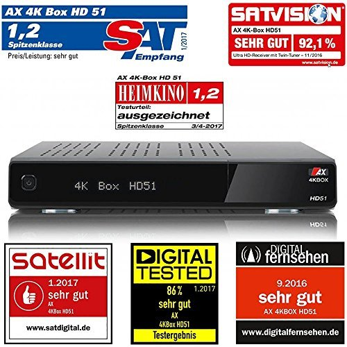 AX 4K-BOX HD51 UHD 2160p E2 Linux Receiver mit 1x Sat (DVB-S2) Tuner mit PVR (Aufnahme) über USB oder Festplatte
