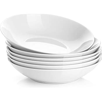 Y YHY 22 Ounces Porcelain Salad Pasta Bowls, Soup Bowl Set, Shallow and White, Set of 6