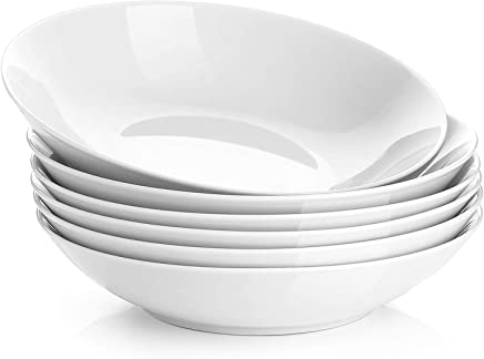 YHY 20-Ounce Porcelain Salad/Pasta Bowls,  Soup Bowl Set,  Shallow & White,  Set of 6