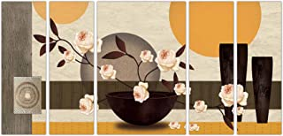 Art Amori Morden Floral Art set of 5 MDF PaintingMulticolour 12x18 Inch - 1 Piece + 6x18 Inch-4 pieces for Wall Paintings...