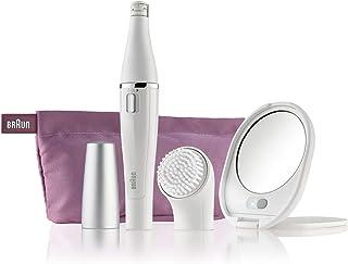 آلة إزالة شعر الوجه Bruan Face SE830  من براون وآلة التنظيف + جراب الجمال الذي يحتوي على مرآة مضاءة