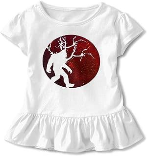Funny Sasquatch Bigfoot Full Moon Toddler Baby Girls' Short Sleeve Ruffle T-Shirt