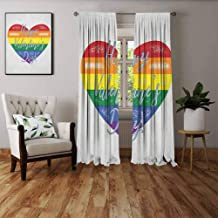 FOEYESEE White Curtains Vintage Rainbow Happy Valentine`s Day Quote on Distressed Colorful Heart Gay Couples LGBTI Multicolor Boys Girls Bedroom Dorm W63 xL63