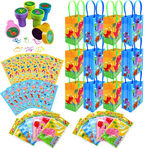 TINYMILLS Dinosaur Birthday Party Assortment Favor Set of 108 pcs (12 Large Party Favor Treat Bags with Handles, 24 Self-Ink Stamps for Kids, 12 Sticker Sheets, 12 Coloring Books, 48 Crayons)