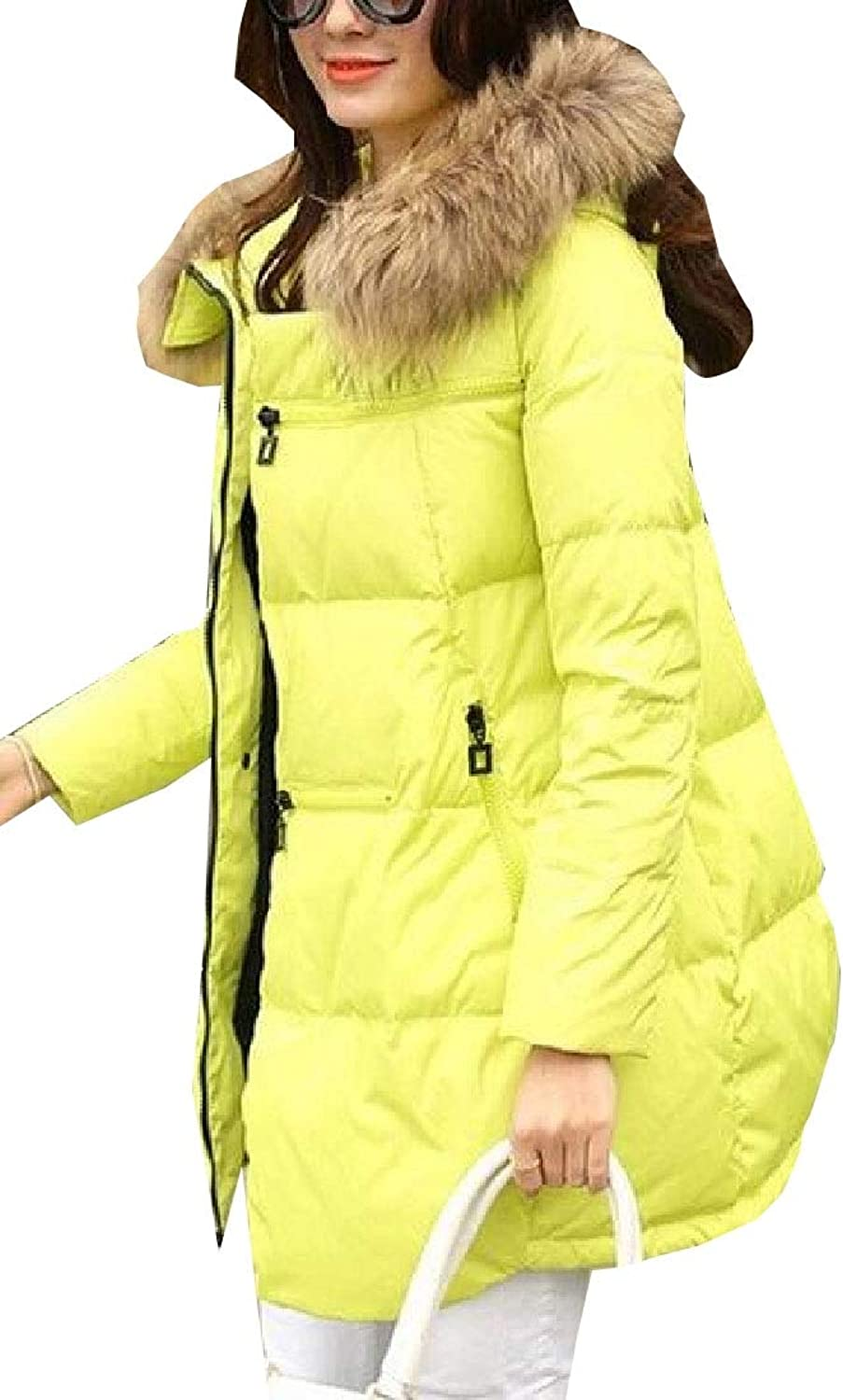 Desolateness Womens Mid Length Fur Hooded Warm Cotton Padded Bread Thicker Jacket