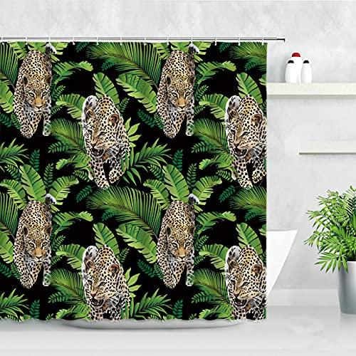 Duschvorhang Leopard Duschvorhänge Tropische Pflanze Blatt Tukan Muster Modern Natürlich Wasserdicht Tuch Badezimmer Dekor Haken Badvorhang Set 180 x 180 cm