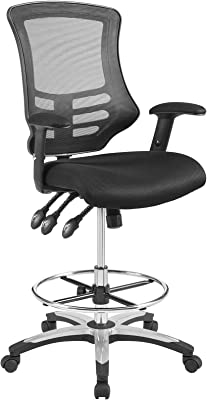 Modway Calibrate Mesh Drafting - Reception Desk Chair - Tall Office Chair in Black