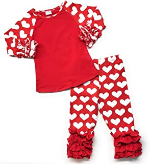 Valentine's Day Infant Girl Raglan Icing Hearts Toddler Girl Outfit Ruffle Boutique Clothing