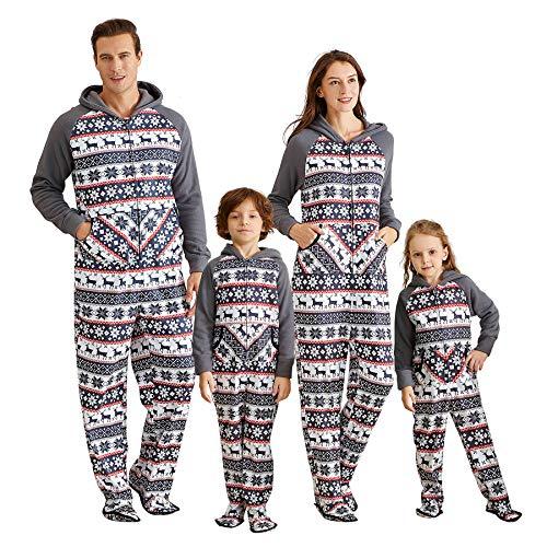 Yaffi Family Matching Pajamas Christmas Festival Footed Pyjamas Hoodie Jumpsuit Onesie for Mom Dad Kids Fleece Snowflake Sleeper PJs Kids: 2 Years Grey