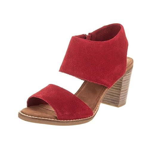 d09571fe0f1d TOMS Women s Majorca Cutout Sandal Red Suede 7.5 B US