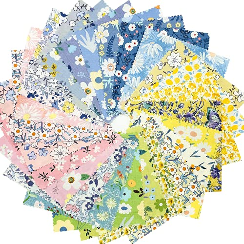 Retro Floral Print Precut Quilting Fabric 100% Cotton Fabric Squares 8x8 for Quilt Beginners (25Pcs) SZRUIZFZ