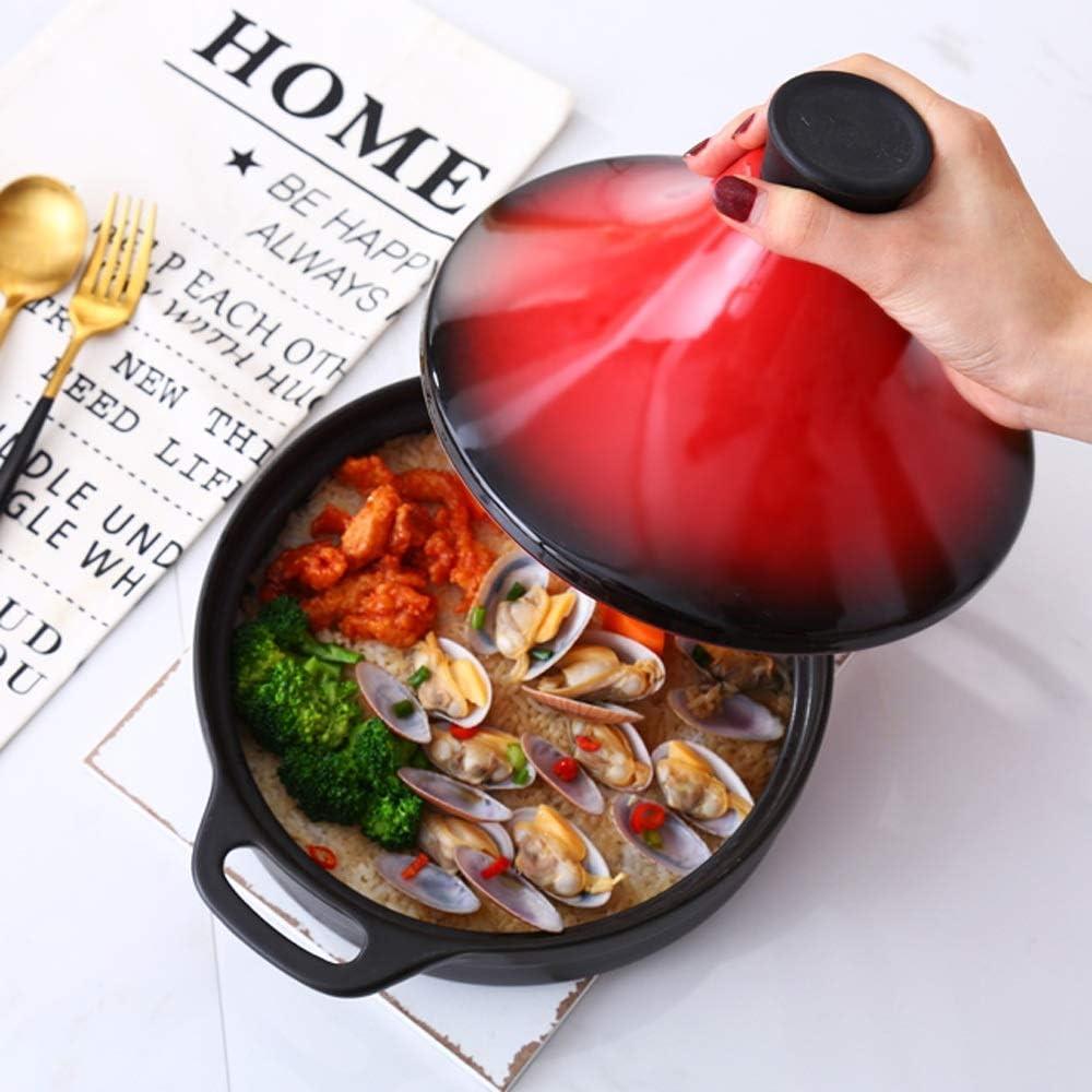 DYXYH Céramique intérieur peint à la main Casserole pot d'argile riz Cocotte résistant à la chaleur des briques réfractaires 29 cm (Color : A) C