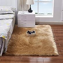 سجادة طويلة ومستطيلة بتصميم زغبي وفائقة النعومة من ديكديل، مصنوعة من صوف الغنم الصناعي لأرضيات غرف النوم والبلكونات