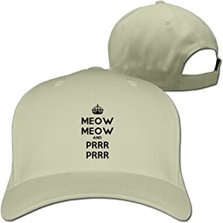 Meow And Prrr Adorable Cat Wordmark Style Cotton Baseball Caps