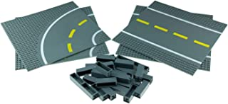 2 Straight and 2 Curved Road Plates with 30 Stackers - Compatible with All Major Brick Brands - Tower Construction