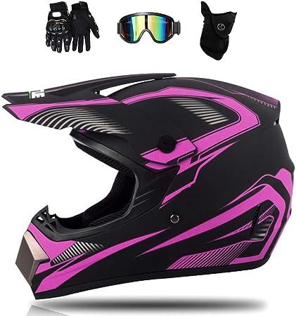 Casco da MTB Integrale MJH-01 Casco da Cross per Bambini e Adulti Casco da Motocross con FOX Design per Moto Downhill Enduro Off-road Dirt Bike con Occhiali//Guanti//Maschera//Rete Bungy Rosa