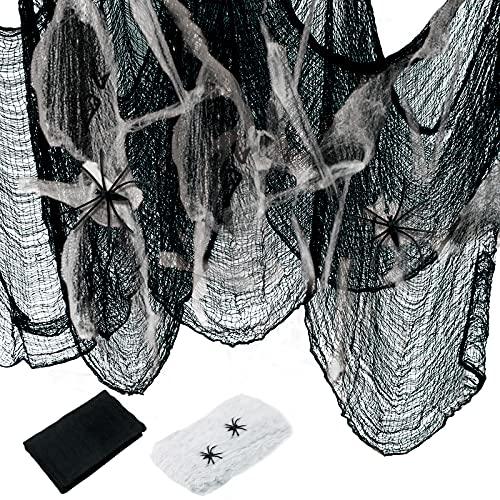 Kelate Garza Nero per Halloween,Panno Nero Inquietante 215x500cm,Tessuto Nero con Decorazioni di Halloween,Panno Raccapricciante,Decorazione Festa di Halloween,Decorazione di Case infestate.