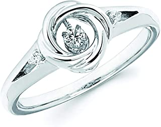 925 Sterling Silver Dancing Diamond Ring (1/10 cttw, I Color, I1 Clarity)