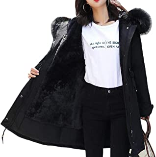 Womens Warm Hooded Long Coat Fur Collar Jacket Loose Parka Outwear