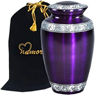 MEMORIALS 4U Mulberry with Silver Band Cremation Urn for Human Ashes - Adult Funeral Urn Handcrafted - Affordable Urn for Ashes - Large Urn Deal