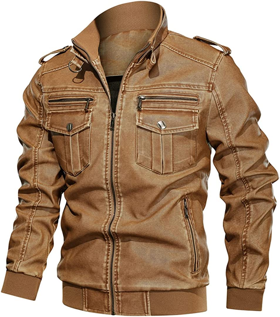 Men's Leather Jackets Vintage Motorcycle Biker PU Leather Jackets Male Stand Collar Bomber Coat