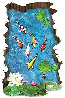 HADIY 3D Floor Stickers Fish Pool Lotus Flower Wall Decal for Kitchen Bathroom Tile Sticker Living Room Bedroom Kids Room Decor Art Mural