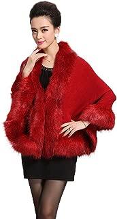 Women Luxury Bridal Faux Fur Shawl Wraps Cloak Coat Sweater Cape
