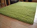 Soft Touch Shaggy Green Thick Luxurious Soft 5cm Dense Pile Rug. Available in 7 Sizes (160cm x 220cm)