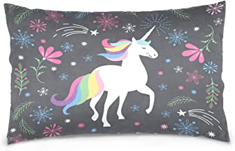 Mydaily Color Unicorn Flower Throw Pillow Case Cotton Velvet Rectangular Cushion Cover 20x26 inch