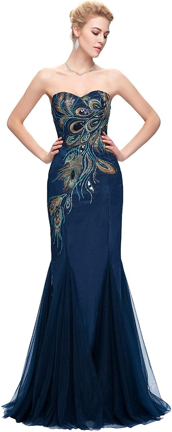 Seasail New Wedding Party Embroidered Peacock Dresse Elegant Fishtail Evening Dresses