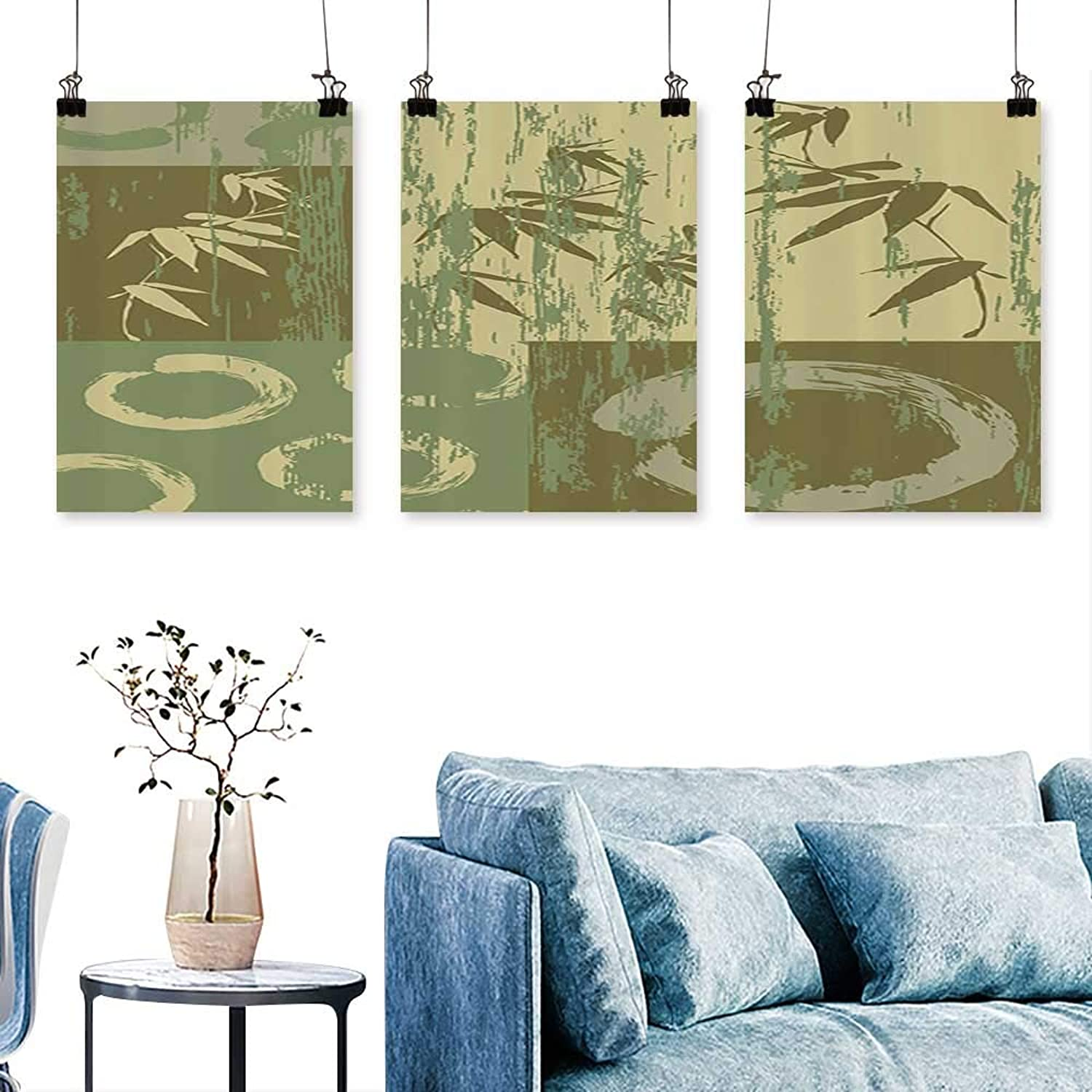 SCOCICI1588 Three Consecutive Painting Frameless Circle and Bamboo Silhouette Over Vintage color Oriental Eastern Patchwor for Home Modern Decoration No Frame 30 INCH X 60 INCH X 3PCS