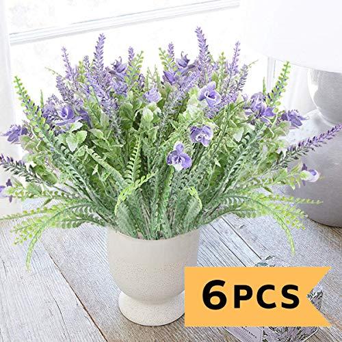 Rinlong Artificial Greenery Shrubs Fake Plants Flocked Purple Dusty Flowers Lavender Plastic Plants for Crafts Bridal Bouquet Filler Home Kitchen Farmhouse Pitcher Decor