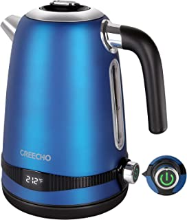 GREECHO 1.7L Electric Kettle Temperature Control, 1100W Digital Hot Water Boilerwith LED Display, 7 Heat Settings & Keep ...