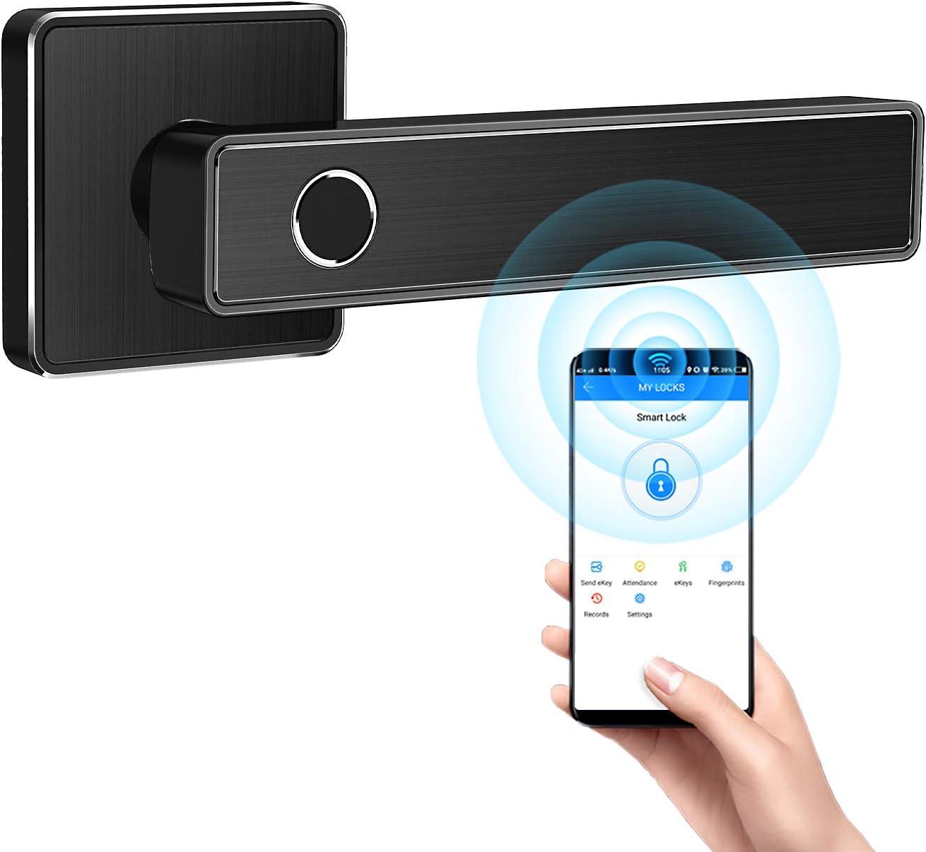 Tiffane Biometric Fingerprint Door Lock, Smart Lever Door Lock, Biometric Smart Door Lock, Bluetooth Door Lock for Homes(Square Black)