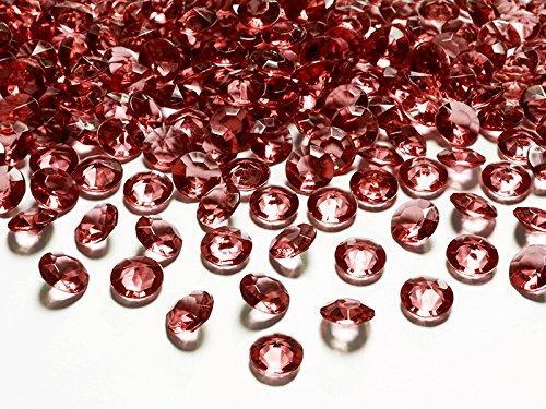 100 Diamanten rot bordeaux 12mm Tischdekoration Streuartikel Hochzeit Taufe