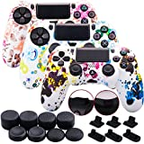 9CDeer 3 Pieces of Silicone Water Transfer Protective Sleeve Case Cover Skin + 8 Thumb Grips Analog Caps + 3 Sets of dust Proof Plug for PS4/Slim/Pro Controller, Graffiti 3 Pack