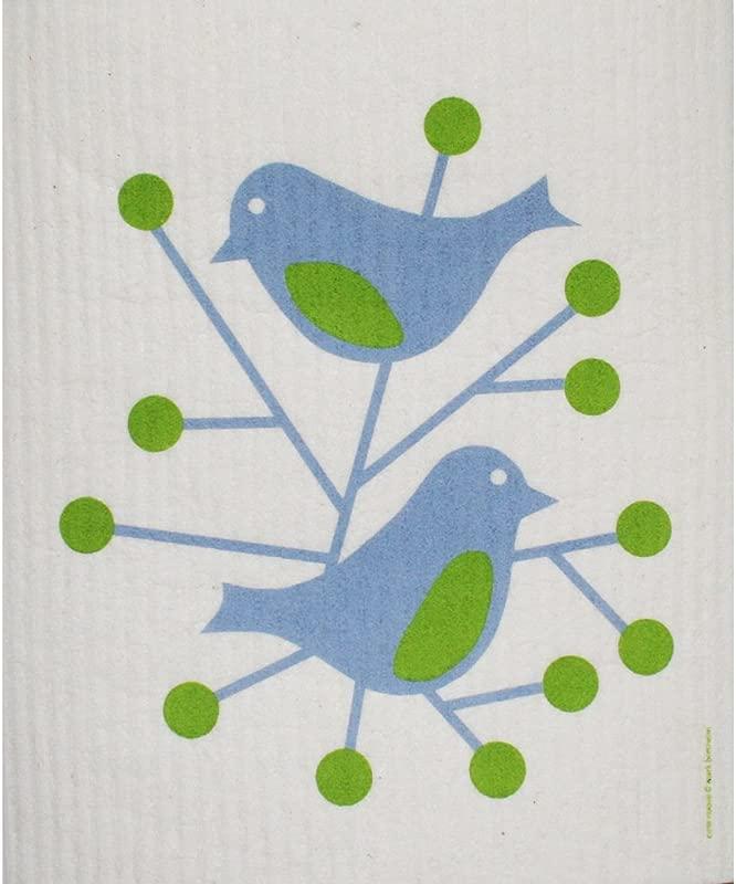 ScandinavianShoppe Swedish Dishcloth Birds Blue