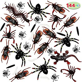 JOYIN 144 Pieces Plastic Realistic Bugs - Fake Cockroaches, Spiders, Scorpions and Worms for Halloween Party Favors and Decoration.