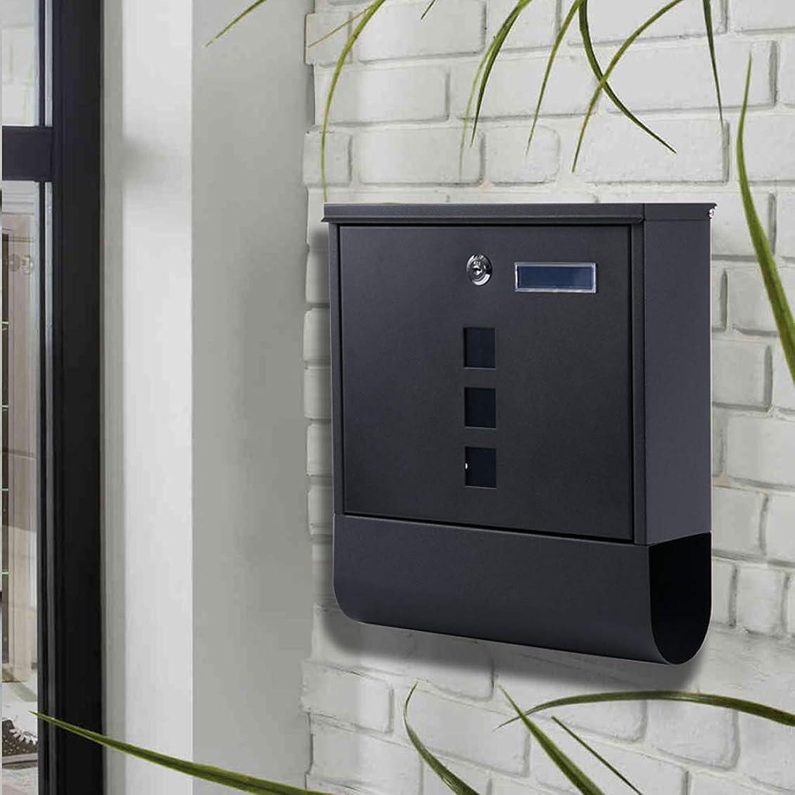 ハリケーン自動的にエリートレターボックス、屋外の別荘、外壁、鍵、雨防止ポストボックス、ポストボックス、雑誌の提案ボックス、黒。 屋外セキュリティメールボックス