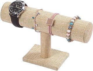 Coward T-Bar Bracelet Holder Organizer Jewelry Display Boutique Watch Stand for Home Organization Storage(Yellow Linen)
