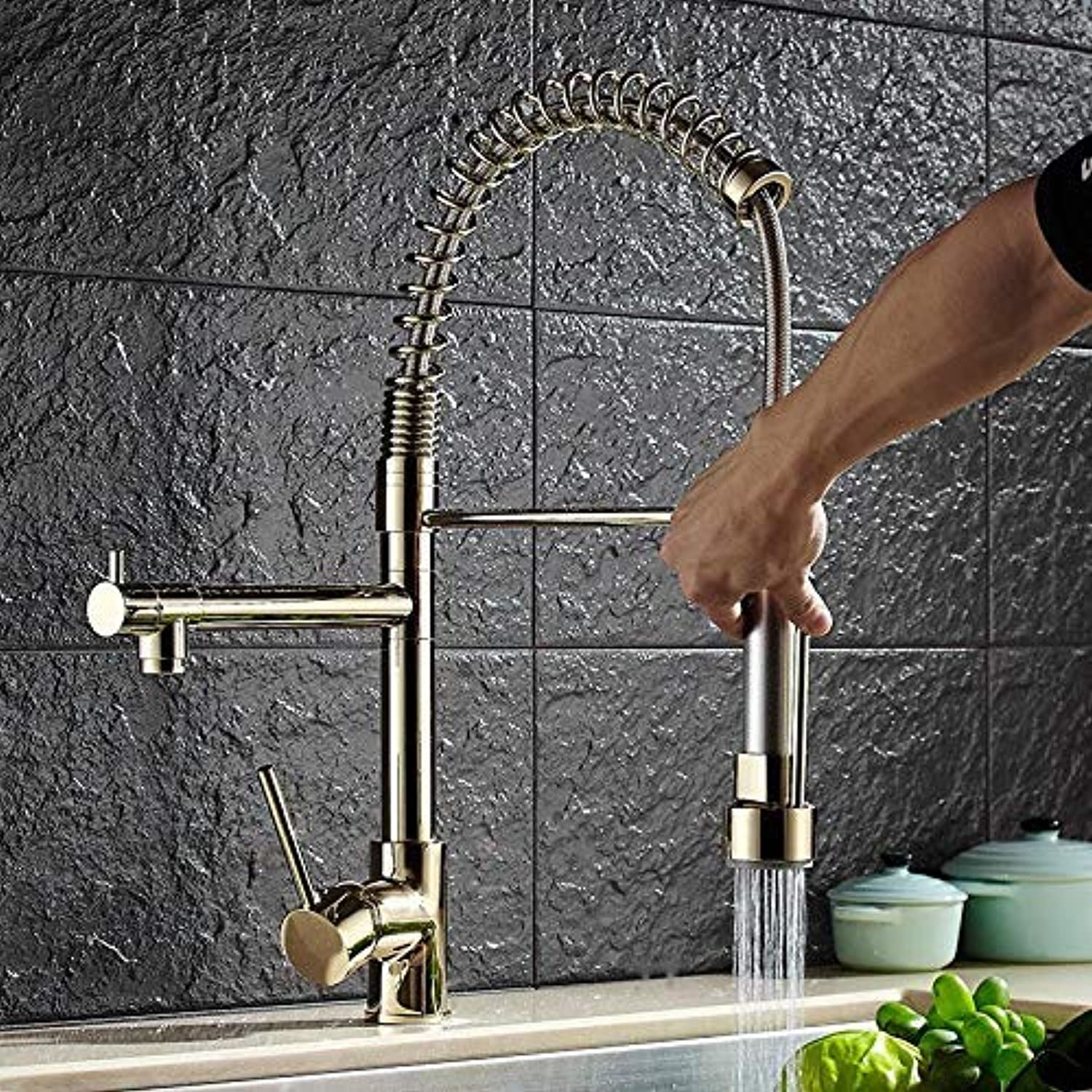 Luxury gold color New Kitchen Tap Water Tap Two Schwenkausl?ufe Extensible Spring Mixer gold Pulling Out Kitchen Sink Faucet (color   -, Size   -)