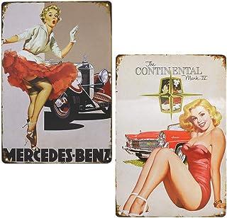 LZYMSZ Lot de 2 affiches vintage The Continental Pin-up Girl en métal, plaque en métal pour garage, maison, bar, décoratio...
