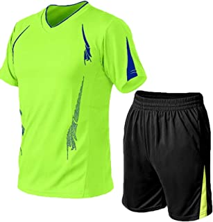 Men Shorts Set Two Piece Tracksuit Outfits Short Sleeve T-Shirt and Shorts Casual Sports Wear