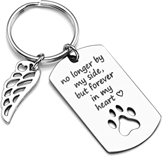 PiercingJ Personalized Custom No Longer by My Side But Forever in My Heart Stainless Steel Pet Memorial Dog Cat Paw Dog Tag Keychain Key Ring Pet Sympathy Gift for Pet Lover