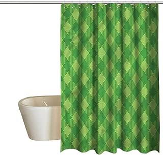 Denruny Shower Curtains Tumblr Irish,Retro Green Checkered,W36 x L72,Shower Curtain for Girls