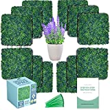 """CREATIVE SPACE Artificial Boxwood Panels 12 Pcs 20""""x20"""" Faux Hedge Panel - Grass Wall Décor, Indoor Outdoor Greenery Backdrop – Garden Privacy Screen Fence"""