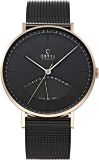 Obaku ELM Night Analog Black Dial Watch for Men - V213GUVBMB