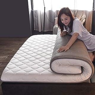 FF Colchón Transpirable Topper Acolchado e Impermeable, tapete de Tatami para Dormir Resistente al Agua, Almohadilla para Dormir Gruesa Cama Plegable de Tatami Enrollable, Blanco 90x200cm (35x7