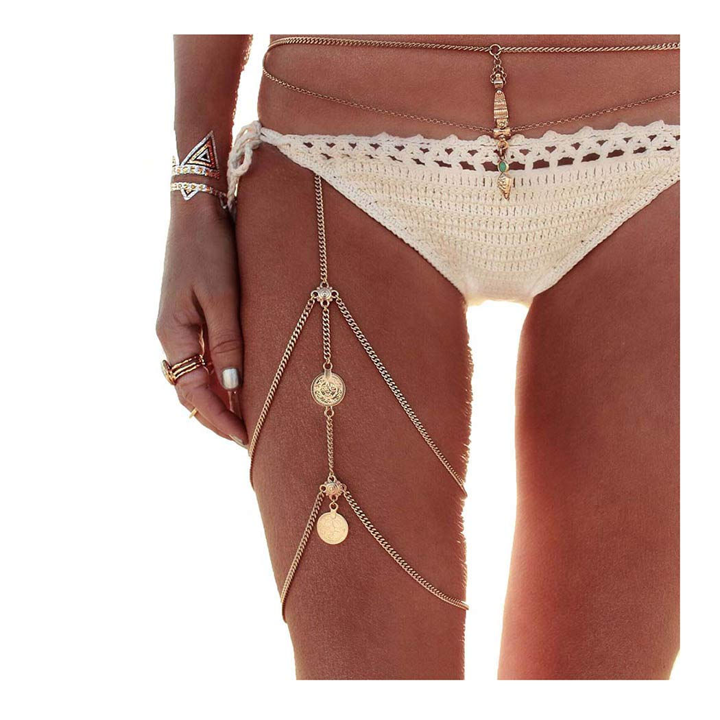 Drecode Boho Layered Body Chains Gold Coin Bikini Leg Chain Sexy Beach Party Chains Body Accessories Jewelry for Women and Girls (Gold)
